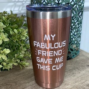 Friend tumbler lid and cup NWOT glitter pink